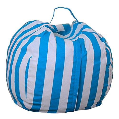 Glorrt Kids Stuffed Animal Plush Toy Storage Bean Bag Soft Pouch Stripe Fabric Chair (C)