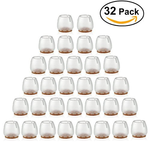 NUOLUX Chair Leg Caps Feet Pads Furniture Table Covers Floor Protectors Silicone Round Legs 32Pcs (Transparent+Brown)