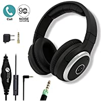 Active Noise Cancelling Headphones, Wired Headphone with Mic Over-ear Headset with Airplane Flight Audio Jack Converter NC2000 By Ableplanet