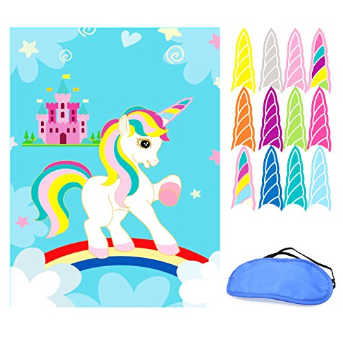 SFVAN Pin the Horn on the Unicorn Party Games Birthday Party Favors Supplies Rainbow Decorations Gifts for (Halloween 4 Poster Mask)