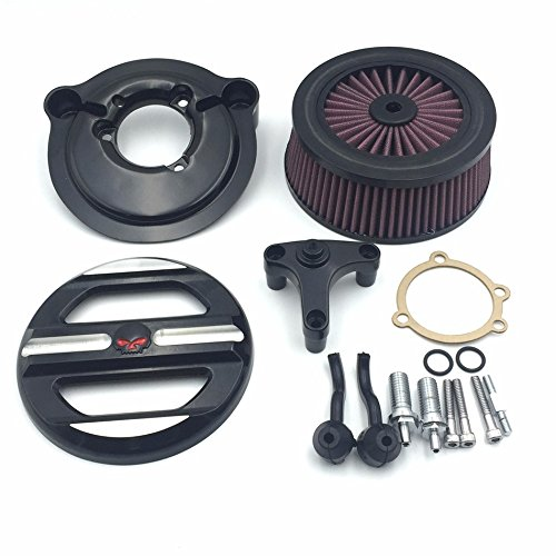 XKH Group Motorcycle Black Skull Grille Air Cleaner Intake Filter System Kit For Harley Davidson 2007-later XL Sportster 1200 Nightster 883 XL883 Low XL1200L Seventy Two Forty (Skull Air Cleaner Kit)