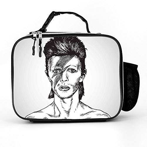 Welkoom Lunch Bag Insulated Lunch Box - Tough & Spacious Adult Lunchbox To Seize Your Day (David Bowie Portrait Drawing Caricature - Lunch Bags For Men, Adults, Women)