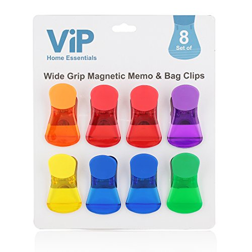 VIP Home Essentials - Wide Finger Grip With Comfort Cover - Versatile All-Purpose Food Bag & Fridge Magnet Clips - Set of 8