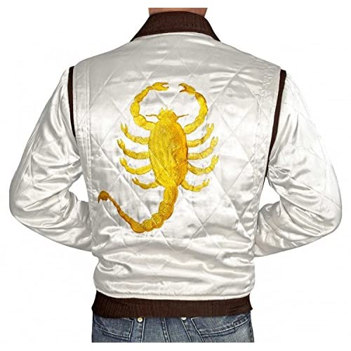 Cheap Drive Jacket - White Satin Mens Quilted Jacket