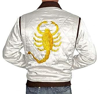 Drive Satin Slimfit white Drive Scorpion Jacket For Mens (XS)