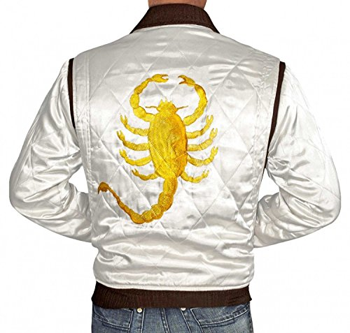 Drive Slimfit White Quilted Drive Satin Jacket For Mens (M)
