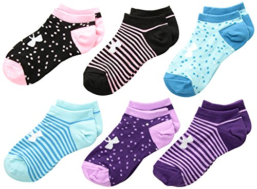Under Armour Girls Essential Mixed Twist No Show Socks (6 Pack), Purple/Assorted, Youth Large