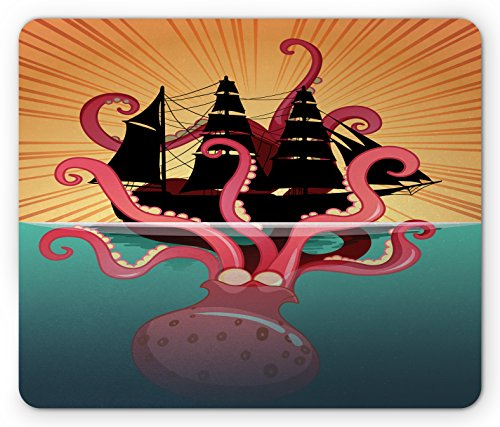 Kraken Mouse Pad by Ambesonne, Coral Sea Monster Sinking the Boat Retro Myths Ocean Folk Stories Inspired Artwork, Standard Size Rectangle Non-Slip Rubber Mousepad, - Of The Story Kraken The