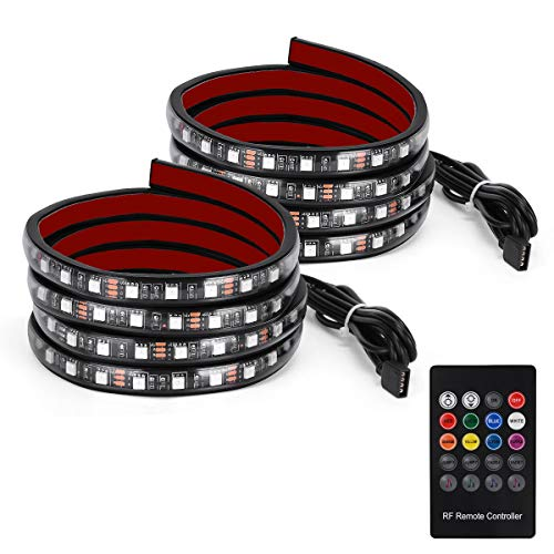 YITAMOTOR 2x 60 inches RGB LED Truck Bed Lights Strip 12v w/Sound-Activated Function, Wireless Remote, IP67 Waterproof, on/off Switch for Pickup RV, SUV, Boats