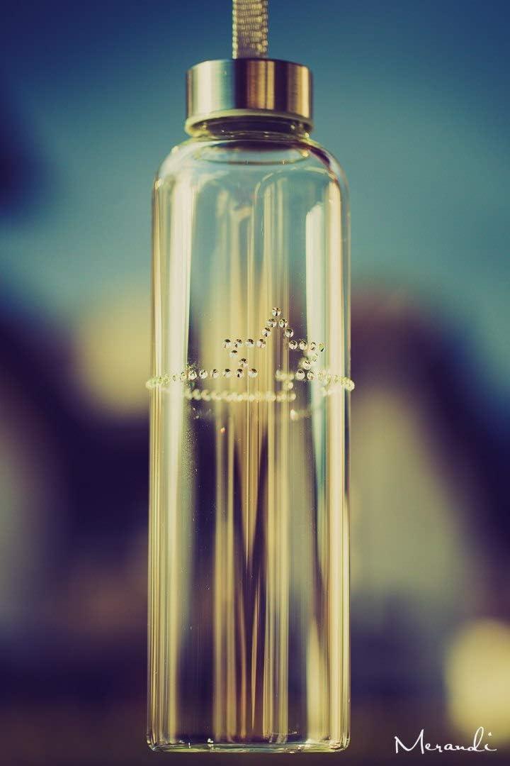 Merandi - Botella de Vidrio de borosilicato refinada con Cristales de Swarovski®, diseño de Estrellas, antigoteo, portátil, 550 ml, sin BPA, Correa de Transporte, Apta para lavavajillas