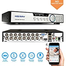 HISRAY 16CH 5-in-1 1080P Lite Security Standalone DVR H.264 HDMI Output, Home Security Surveillance Camera System QR Code Scan Remote Access Motion Detection (No HDD)
