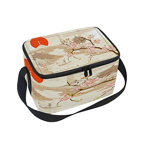 - Use4 Japanese Landscape Cherry Blossom Mountain Sun Insulated Lunch Bag Tote Bag Cooler Lunchbox