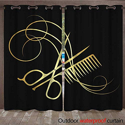 RenteriaDecor Outdoor Balcony Privacy Curtain Hairdressing Scissors and Comb Gold Color W72 x ()
