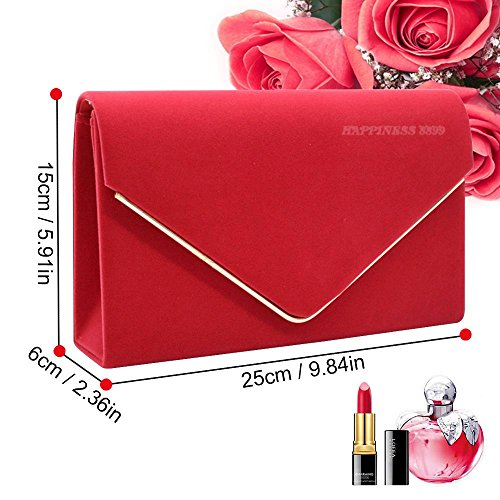 Prom Designer Party Gold Girly Velvet Lavish Bags Wocharm Rose Wedding Suede Clutch Red Evening Women HandBags Faux Envelope Trim Ladies RaqcpPgw