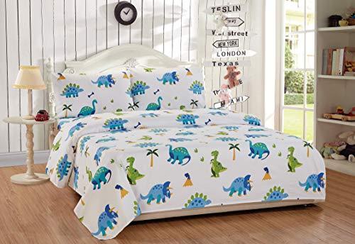 Full Size 4pc Sheet Set for Kids Dinosaur Blue Green White New (Full Set Dinosaur Size Sheet)