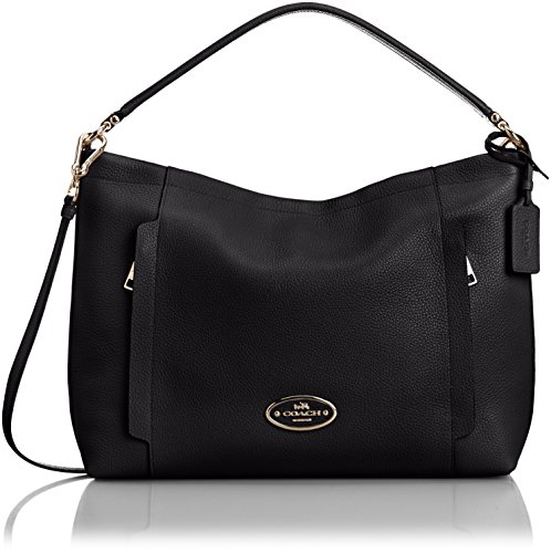 COACH Women's Pebbled Leather Scout Hobo Light/Black Hobo
