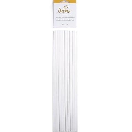 White Decora Plastic Rods for Tier Cake 38 x 5 x 0.5 cm