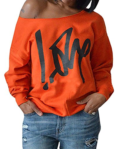Womens Off Shoulder Pullover Sweatshirt Love Letter Printed Small Orange (A Perfect Love Letter To A Girl)