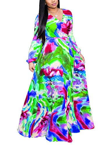 Akmipoem Women's Faux Wrap V Neck Long Sleeve Digital Print High Waist Plus Size Maxi Dress with Belt Blue&Green 5XL