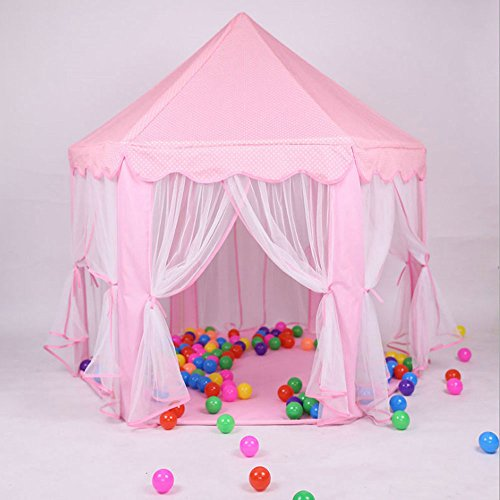 Tenozek Princess Castle Play House Large Outdoor Kids Play Tent for Girls Pink by Tenozek (Image #4)
