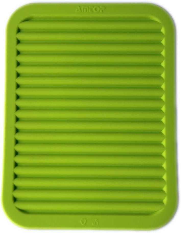 "9"" x 12"" Silicone Pot Holder, Trivet Mat, Baking Gadget Kitchen Table Mat, Silicone Drying Mat, Draining Board - Waterproof, Heat Insulation, Non-Slip,Trivet, Tableware Pad Coasters (Green)"
