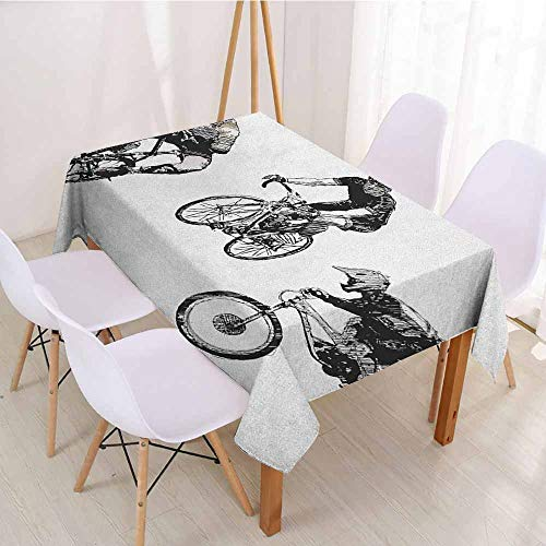 """ScottDecor Rectangular Polyester Tablecloth Fabric Tablecloth W 50"""" x L 80"""" Sketchy,Hand Drawn Image of Cyclists Bicycle Bikes with Helmets Tour De France Themed,Black and White"""