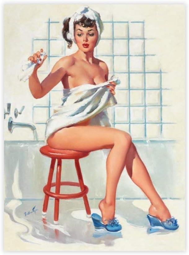 "yyone FamousSceneryWrappedCanvas Stool Pigeon Sexy Bathroom Retro Pinup Girl On Canvas Modern Wall Art Decor Wooden Framed 12"" X 16"""