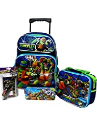 Teenage Mutant Ninja Turtles Large 16 Rolling Roller Wheeled Backpack Book Bag, Lunch Box, Pencil Case & Stationery...
