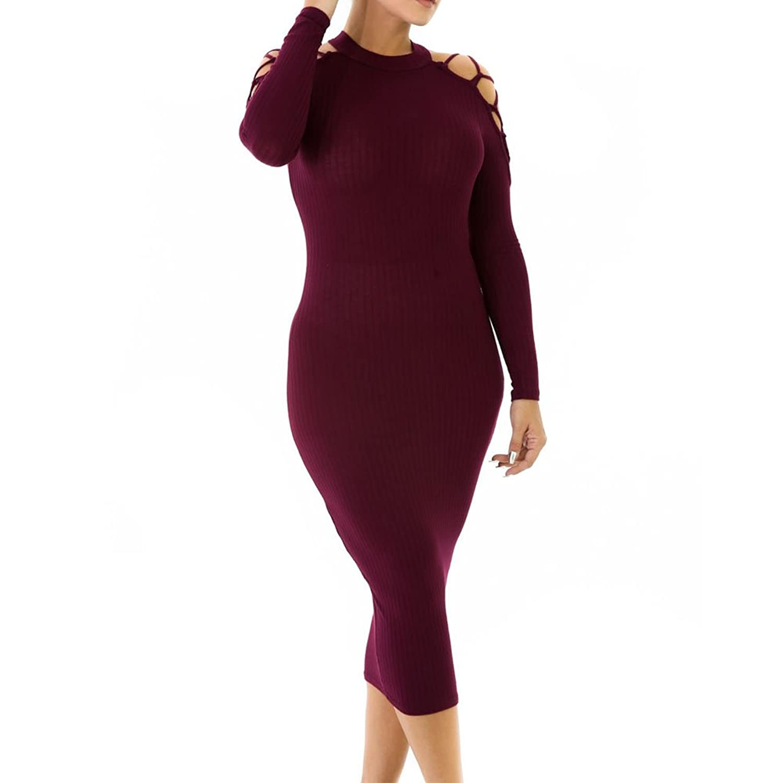 SEBOWEL Netty Cold Shoulder Halter Neck Hollow Out Rib Knit Midi Bodycon Dress