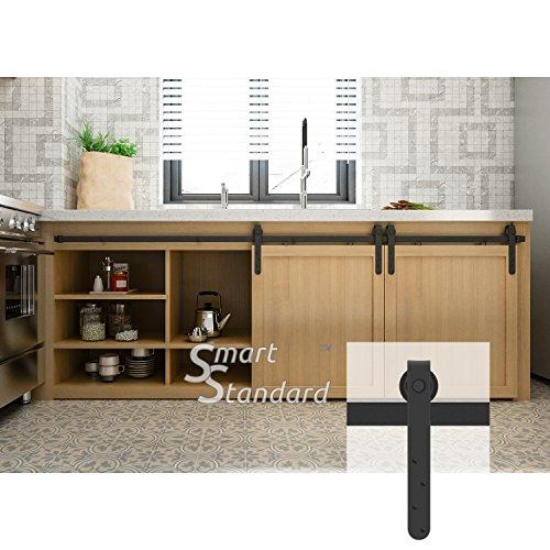8ft Double Door Cabinet Barn Door Hardware Kit- Mini Sliding Door Hardware – for Cabinet TV Stand – Simple and Easy to Install – Fit 24″ Wide Door Panel (No Cabinet) (Mini J Longer Shape Hangers)
