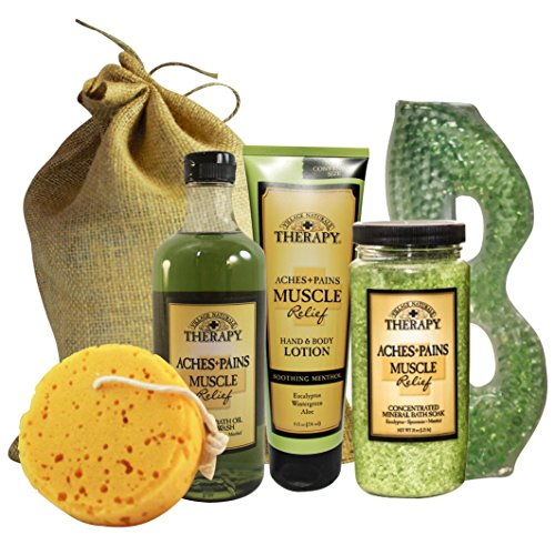 Village Naturals Therapy Aches and Pains Muscle Relief 3 Piece Set Featuring Foaming Bath Soak with Epsom Salts, Foaming Bath Oil Body Wash, and a Gel Bed Eye Mask in an Organza Bag