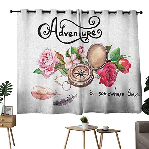 - Zmlove Exquisite Curtain Adventure Vintage Compass Flowers Retro Feathers Text Travel Concept in Watercolors Bronze Pink Green Tie Up Window Drapes Living Room W63 xL45