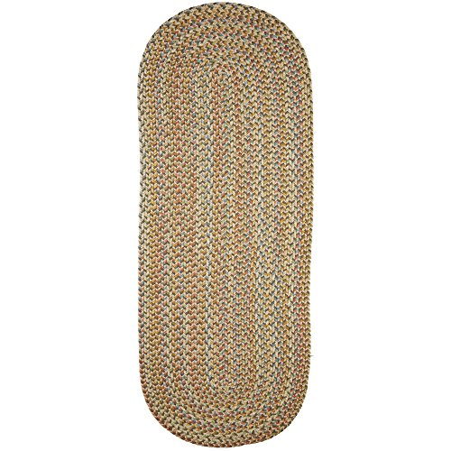 Super Area Rugs Confetti Braided Rug Traditional Rug Textured Durable Neutral Beige Casual Decor Carpet, 2' X 6' Oval Runner