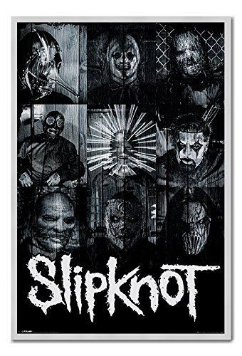 Slipknot Masks Official Poster Cork Pin Memo Board Silver Framed - 96.5 x 66 cms (Approx 38 x 26 inches)]()
