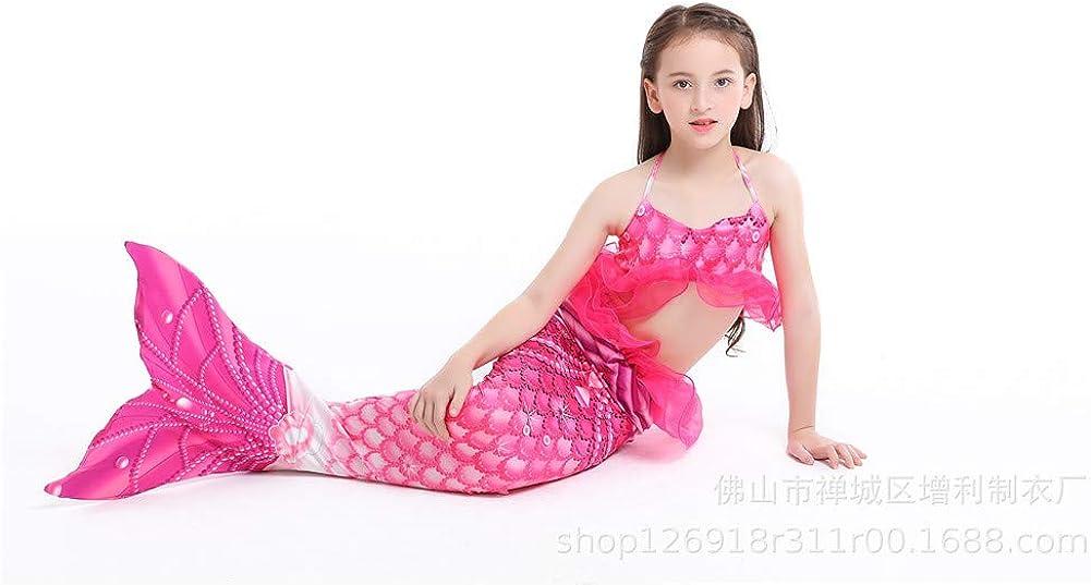 No Monofin 5pcs Mermaid Tail for Swimming Girls Swimsuit Princess Bikini Set Bathing Suit Swimmable Costume