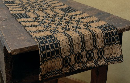 Black Mustard Woven Checkered Pattern Long Table Runner Country Primitive Décor