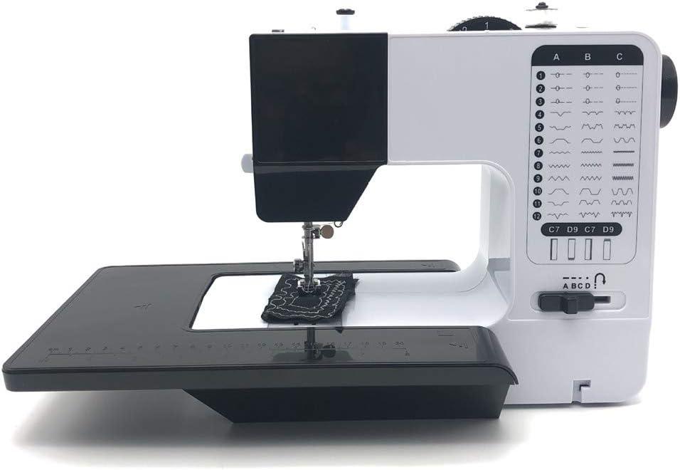 Crrs Máquina de Coser de Alta Resistencia, 12 Puntadas Herramienta de Coser doméstica Overlock multifunción con Pedal Enviar extensión