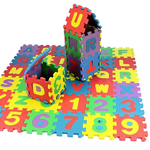 GuGio Non Toxic Play Alphabet and Numbers Foam Puzzle Play Mat, 36 Tiles ABC + Numbers 0 to 9 Flooring Play Mat Fun Learning Placemat Interlocking Puzzle Pieces
