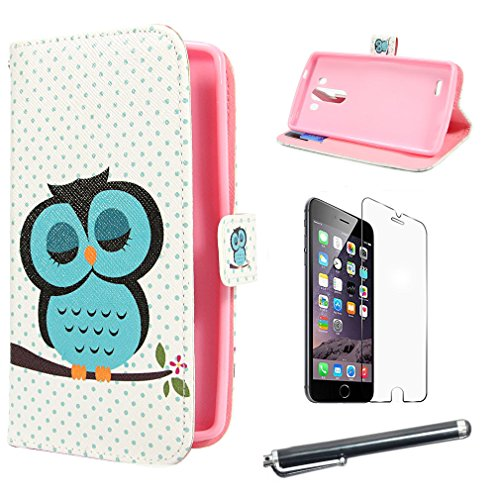 Lovely Owl Design Protection Premium PU Leather Shell [ Wallet Case ] Folio Magnetic Button Flip [ Case Cover ] Skin for LG G3 + Screen Protector + Touch Stylus