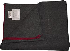 Manta estilo militar gruesa de lana. Gris con franja roja