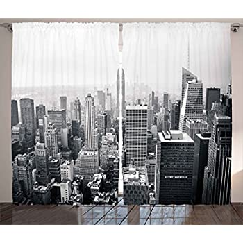 Urban Curtains By Ambesonne USA Decor Theme Aerial View Of New York City Skyscrapers And The Foggy Sky Digital Print Living Room Bedroom Window Drapes 2