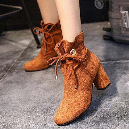 Frühling Outdoor Braun Schnürschuh hunpta Casual Casual Boots Stiefel Ferse Ankle Stiefel Damen quadratische 7fntwOaYq
