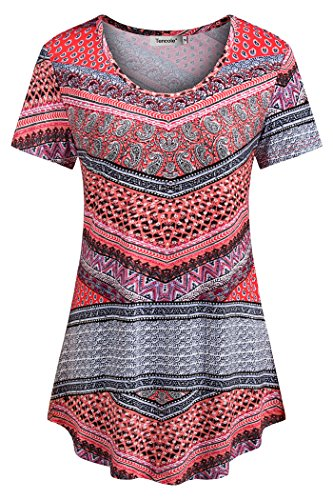 Tencole Womens Fit and Flare Tunics, Round Neck Short Sleeves Shirt Plus Printed Top Orange