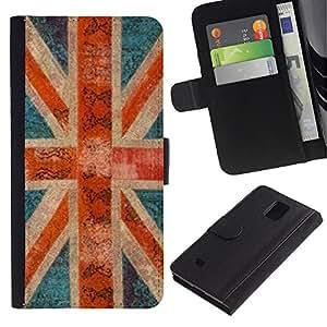 KLONGSHOP / Tirón de la caja Cartera de cuero con ranuras para tarjetas - Britain Rustic Gb London - Samsung Galaxy Note 4 SM-N910
