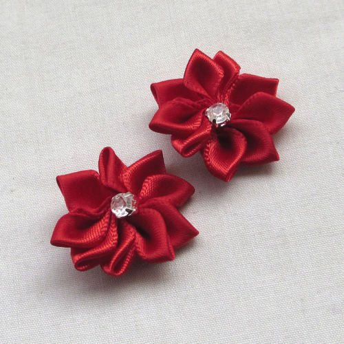 DANDAN DIY Upick More Than 26 Colors 40PCS Satin Ribbon Flowers Bows Rose w/ Rhinestone Appliques Craft Wedding Dec (Red)