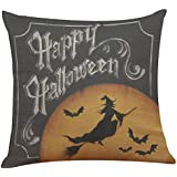 "YOcheerful Halloween Pillow Cover Pumpkin Witch Scary Bat Ghost Devil Kittens (E,45cm45cm/1818"")"