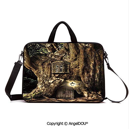 AngelDOU Neoprene Laptop Shoulder Bag Case Sleeve with Handle and Extra Pocket Fairytale House in Tree Trunk in Forest with Lanterns Folk Stories Themed Design Compatible with MacBook/Ultrabook/HP/A (The Boy And The Apple Tree Story)