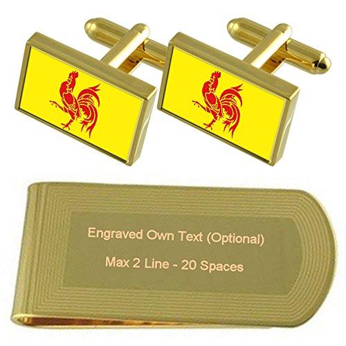 Gold Region tone Gift Money Engraved Flag Cufflinks Clip Walloon Set ES4vqqB
