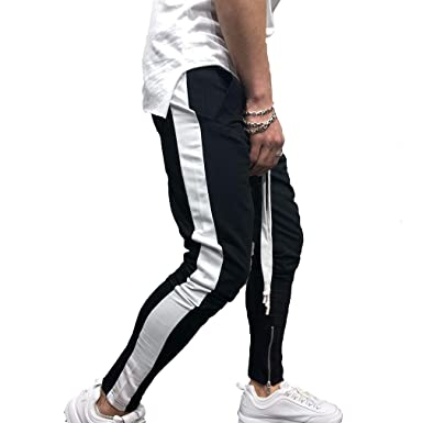 14f61de0fe27 junkai Mens Zip Jogger Trousers - Casual Gym Fitness Tracksuit Bottoms Slim  Fit Chinos Sweat Pants G Hip Hop Fitness Stitching Trousers M-3XL   Amazon.co.uk  ...