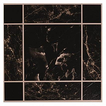 20 x negro mármol efecto autoadhesivo de vinilo suelo azulejos - Cocina Baño